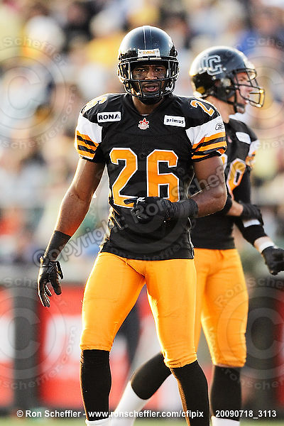 July 18, 2009; Hamilton, ON, CAN; Hamilton Tiger-Cats defensive back Chris Thompson (26). CFL football: Winnipeg Blue Bombers vs. Hamilton Tiger-Cats at Ivor Wynne Stadium. The Tiger-Cats defeated the Blue Bombers 25-13. Mandatory Credit: Ron Scheffler. Copyright (c) 2009 Ron Scheffler.