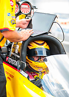 Jul 18, 2020; Clermont, Indiana, USA; NHRA top fuel driver Shawn Langdon during qualifying for the Summernationals at Lucas Oil Raceway. Mandatory Credit: Mark J. Rebilas-USA TODAY Sports