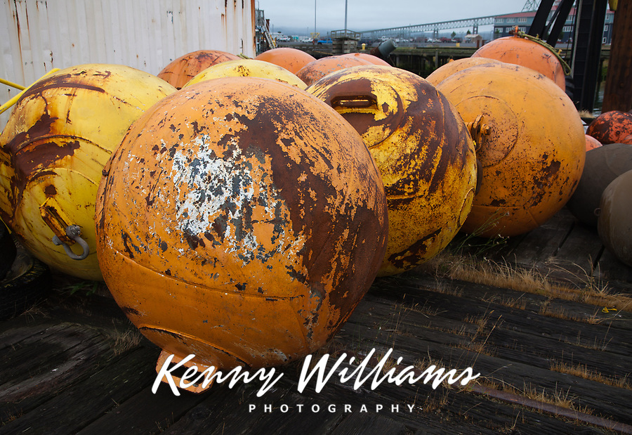 Colored Buoys, Metal Anchored Floats, Marine Navigation Marks, Port of Astoria, Oregon