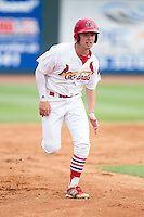 Cole Lankford (12) of the Johnson City Cardinals hustles towards third base against the Elizabethton Twins at Cardinal Park on July 27, 2014 in Johnson City, Tennessee.  The game was suspended in the top of the 5th inning with the Twins leading the Cardinals 7-6.  (Brian Westerholt/Four Seam Images)