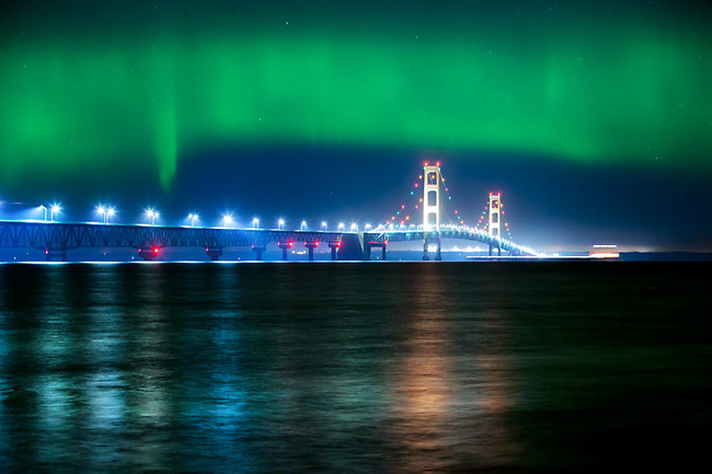 Mackinac Bridge and aurora