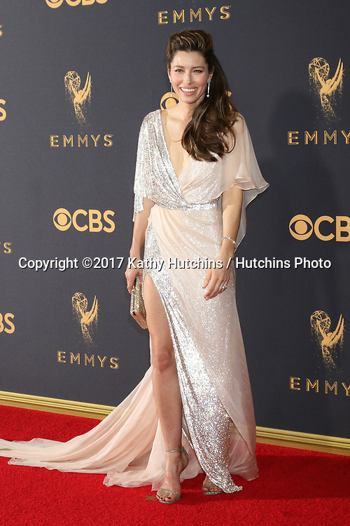 LOS ANGELES - SEP 17:  Jessica Biel at the 69th Primetime Emmy Awards - Arrivals at the Microsoft Theater on September 17, 2017 in Los Angeles, CA
