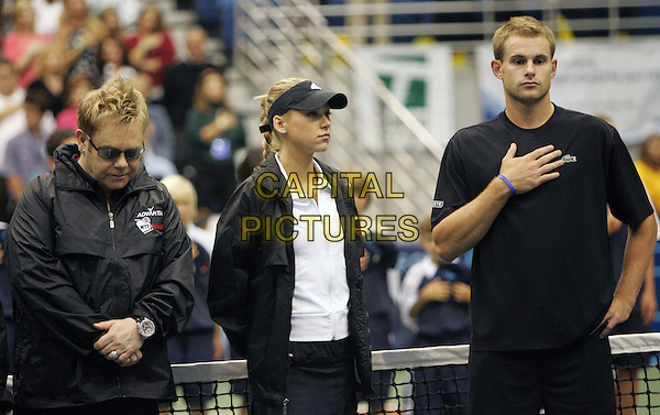 ELTON JOHN, ANNA KOURNIKOVA  & ANDY RODDICK.The 14th Annual Advanta WTT Smash Hits held at The UC Irvince Bren Center in Irvine, California, USA..September 14th, 2006.Ref: DVS.half length black jacket tee shirt hat visor tee shirt.www.capitalpictures.com.sales@capitalpictures.com.©Debbie VanStory/Capital Pictures