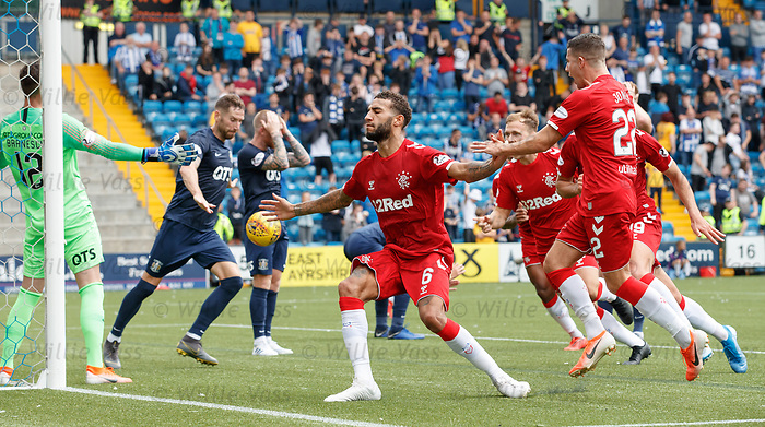 04.08.2019 Kilmarnock v Rangers: Connor Goldson celebrates his winner