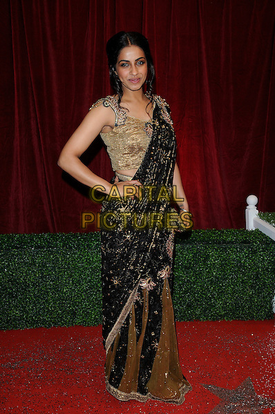 Mandip Gill.Attending the British Soap Awards 2012.at the London Television Centre, London, England, UK, 28th April 2012..arrivals full length green gold sari indian dress black hand on hip .CAP/CAN.©Can Nguyen/Capital Pictures.