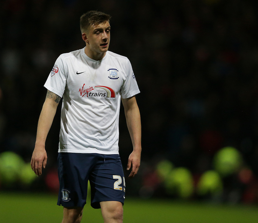 Preston North End's Jordan Hugill shows his disappointment at the 1-0 scoreline<br /> <br /> Photographer Stephen White/CameraSport<br /> <br /> Football - The Football League Sky Bet Championship - Preston North End v Burnley - Friday 22nd April 2016 - Deepdale - Preston <br /> <br /> &copy; CameraSport - 43 Linden Ave. Countesthorpe. Leicester. England. LE8 5PG - Tel: +44 (0) 116 277 4147 - admin@camerasport.com - www.camerasport.com
