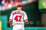 15 August 2017: Washington Nationals starting pitcher Gio Gonzalez prepares for his start against the Los Angeles Angels at Nationals Park in Washington, DC. The Nationals defeated the Angels 3-1 in the first game of their 2-game series. Mandatory Credit: Ed Wolfstein Photo *** RAW (NEF) Image File Available ***