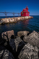The Sturgeon Bay Canal North Pierhead Light was built in 1882 and marks the east entrance to the Sturgeon Bay Ship Canal. and is  an active navigation aid.