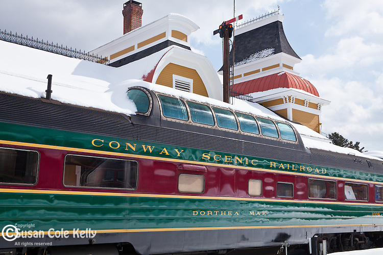 The Conway Scenic Railroad in North Conway, NH, USA