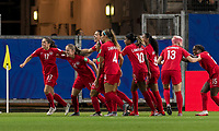 GRENOBLE, FRANCE - JUNE 15: Jessie Fleming #17 of the Canadian National Team celebrates her goal with teammates during a game between New Zealand and Canada at Stade des Alpes on June 15, 2019 in Grenoble, France.