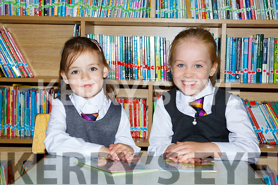 Aoife Casey and Holly Culloty on their first day of school in Two Mile Community NS on Wednesday