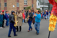 Musicians age 40 marching in Parade. In the Heart of the Beast May Day Festival and Parade Minneapolis  Minnesota USA