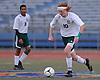 Tommy Browne #10 of Carle Place moves the ball across midfield during the NYSPHSAA varsity boys soccer Class B Southeast Regional against Hastings at Mitchel Athletic Complex on Saturday, Nov. 5, 2016. Hastings defeated Carle Place by a score of 4-0.