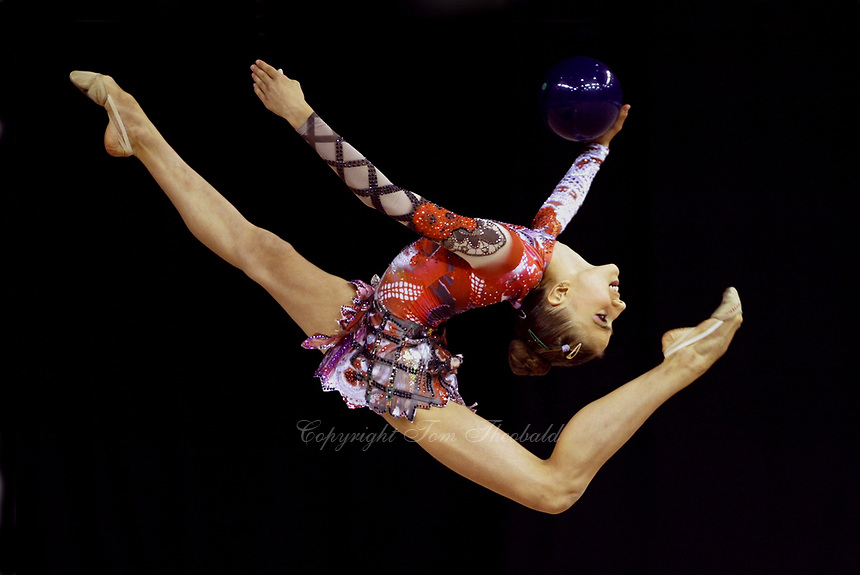 September 24, 2003; Budapest, Hungary;  THEODORA PALLIDOU of Greece performs with ball at 2003 World Championships.