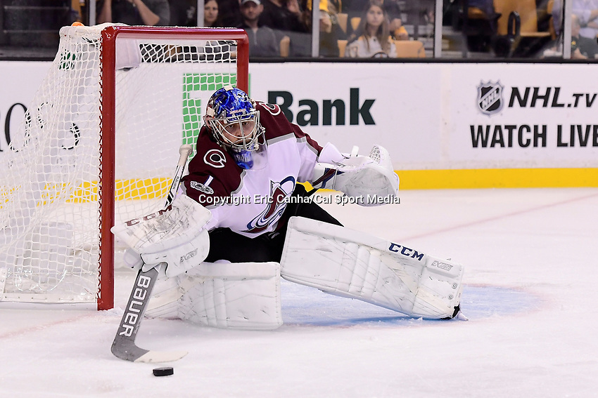 October 9, 2017: Colorado Avalanche goalie Semyon Varlamov (1) makes a save during the NHL game between the Colorado Avalanche and the Boston Bruins held at TD Garden, in Boston, Mass. Colorado defeats Boston 4-0. Eric Canha/CSM