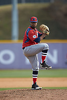 NJIT Highlanders relief pitcher Aquib Ramkishun (10) in action against the High Point Panthers at Williard Stadium on February 18, 2017 in High Point, North Carolina. The Panthers defeated the Highlanders 11-0 in game one of a double-header. (Brian Westerholt/Four Seam Images)