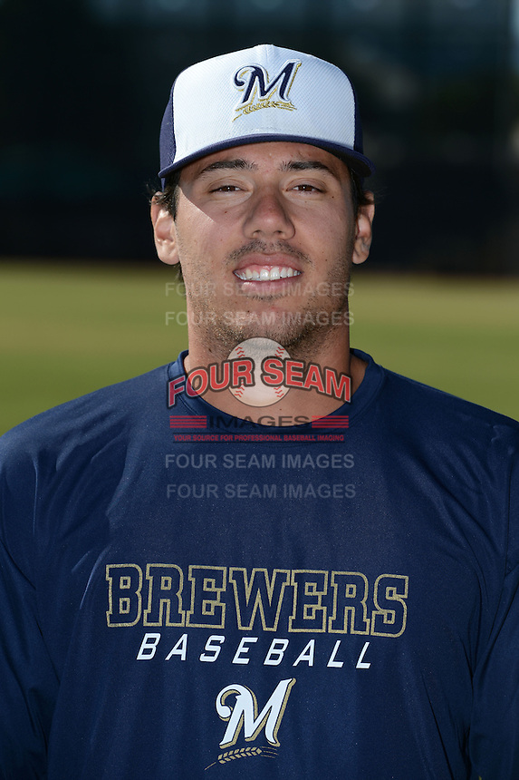 Milwaukee Brewers pitcher Chris Razo (78) poses for a photo after an Instructional League game against the Oakland Athletics on October 10, 2013 at Maryvale Baseball Park Training Complex in Phoenix, Arizona.  (Mike Janes/Four Seam Images)