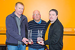Merit Awards for Vincent Croke, Tommy Don O'Connor presented by Michael Fleming at The Kerry Area Basketball Board annual Awards and Medal presentations at the Kingdom Greyhound Stadium Tralee on  Tuesday. Pictured Vincent Croke Michael Fleming, Tommy Don O'Connor