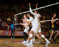 STANFORD, CA - January 17, 2019: Jordan Ewert, Kyler Presho, Jaylen Jasper at Maples Pavilion. The Stanford Cardinal defeated UC Irvine 27-25, 17-25, 25-22, and 27-25.