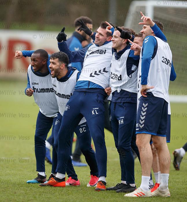 05.02.2019: Rangers training: Glen Kamara, Daniel Candeias, Kyle Lafferty, Andy Halliday, Steven Davis and Gareth McAuley