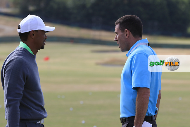 Tiger WOODS (USA) chats with manager Mark Steinberg on the range during Tuesday's Practice Day of the 2015 U.S. Open 115th National Championship held at Chambers Bay, Seattle, Washington, USA. 6/16/2015.<br /> Picture &copy; Golffile/Eoin Clarke