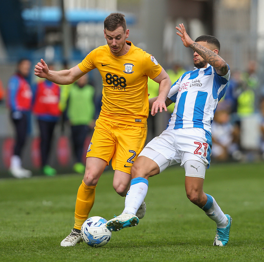 Preston North End's Marnick Vermijl shields the ball from Huddersfield Town's Nahki Wells<br /> <br /> Photographer Alex Dodd/CameraSport<br /> <br /> The EFL Sky Bet Championship - Huddersfield Town v Preston North End - Friday 14th April 2016 - The John Smith's Stadium - Huddersfield<br /> <br /> World Copyright &copy; 2017 CameraSport. All rights reserved. 43 Linden Ave. Countesthorpe. Leicester. England. LE8 5PG - Tel: +44 (0) 116 277 4147 - admin@camerasport.com - www.camerasport.com