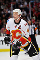 JAY BOUWMEESTER,  of the Calgary Flames in action  during the Flames  game against the Chicago Blackhawks at the United Center in Chicago, IL.  The Chicago Blackhawks beat the Calgary Flames 4-2 in Chicago, Illinois on December 5, 2011....