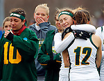 EASTON, MA - NOVEMBER 20:  Kaycee Zelkovsky (24) of LIU Post hugs Grace Ilias (12) of LIU Post after the NCAA Division II Field Hockey Championship at WB Mason Stadium on November 20, 2016 in Easton, Massachusetts.  Shippensburg University defeated LIU Post 2-1 for the national title. (Photo by Winslow Townson/NCAA Photos via Getty Images)
