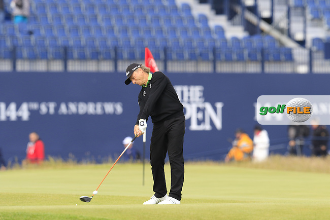 Bernhard Langer (GER) tees off the 18th tee during Monday's Final Round of the 144th Open Championship, St Andrews Old Course, St Andrews, Fife, Scotland. 20/07/2015.<br /> Picture Eoin Clarke, www.golffile.ie