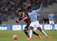 Calcio, Serie A: Lazio vs Bologna. Roma, stadio Olimpico, 22 agosto 2015.<br /> Bologna&rsquo;s Marco Crimi, left, and Lazio&rsquo;s Keita Diao fight for the ball during the Italian Serie A football match between Lazio and Bologna at Rome's Olympic stadium, 22 August 2015.<br /> UPDATE IMAGES PRESS/Isabella Bonotto