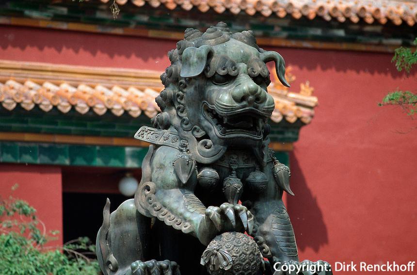 Löwe im 1. Innenhof, Lama-Tempel in Peking, China