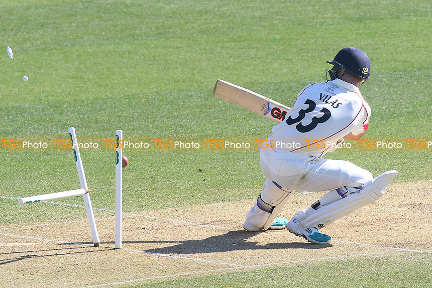 Dane Vilas of Lancashire is bowled out by Jamie Porter during Essex CCC vs Lancashire CCC, Specsavers County Championship Division 1 Cricket at The Cloudfm County Ground on 9th April 2017