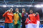 (L-R) Laszlo Cseh (HUN), Chad le Clos (RSA), Michael Phelps (USA), Joseph Schooling (SIN), <br /> AUGUST 12, 2016 - Swimming : <br /> Men's 100m Butterfly Medal Ceremony <br /> at Olympic Aquatics Stadium <br /> during the Rio 2016 Olympic Games in Rio de Janeiro, Brazil. <br /> (Photo by Yohei Osada/AFLO SPORT)