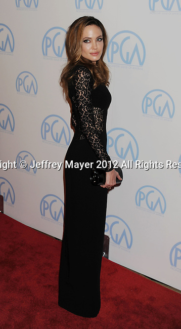 BEVERLY HILLS, CA - JANUARY 22: Angelina Jolie  attends the 23rd Annual Producers Guild Awards at The Beverly Hilton Hotel on January 21, 2012 in Beverly Hills, California.
