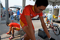 The Chinese National Team warming up before the 2011 Tour of Beijing, Stage 1 ITT