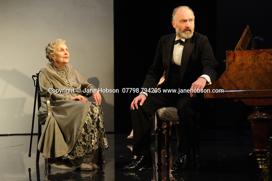 London, UK. 09.11.2015. WASTE, by Harley Granville Barker, directed by Roger Michell, opens at the National Theatre. Picture shows: Doreen Mantle (Countess Mortimer), Louis Hilyer (Russell Blackborough). Photograph © Jane Hobson.