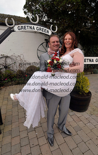 Armistice Day weddings at the old Blacksmiths Shop at Gretna Green - Armadale (West Lothian) couple Carol and Lawrence Blair who chose the date for their wedding because of the significance of the day - picture by Donald MacLeod – 11.11.11 – clanmacleod@btinternet.com 07702 319 738 donald-macleod.com