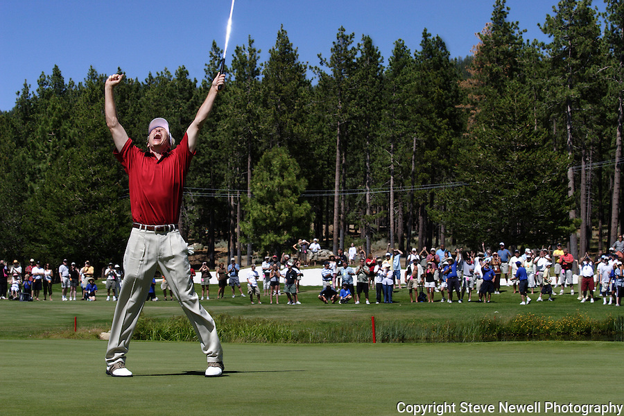 Jack Wagner's victory celebration at the American Century Celebrity Golf Tournament in Lake Tahoe.  I covered this event several times for the local newspaper and the San Francisco Examiner's website.