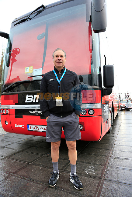 Jim Ochowicz manager BMC Racing Team before the start of the 2014 Tour of Flanders, Bruges, Belgium.<br /> Picture: Eoin Clarke www.newsfile.ie