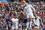 Real Madrid´s Gareth Bale and Sporting de Gijon´s Mere during 2015/16 La Liga match between Real Madrid and Sporting de Gijon at Santiago Bernabeu stadium in Madrid, Spain. January 17, 2015. (ALTERPHOTOS/Victor Blanco)