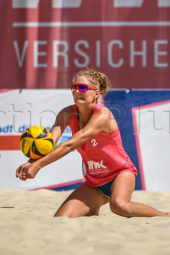 27th June 2020, Dusseldorf, Germany; The German Beach Volleyball League;  Sarah Schulz passes to her team mate