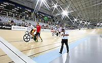 Southland's Stu MacDonald and Steph Mckenzie at the BikeNZ Elite & U19 Track National Championships, Avantidrome, Home of Cycling, Cambridge, New Zealand, Friday, March 14, 2014.  Photo: Dianne Manson / photosport.co.nz
