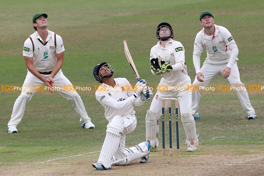 Kishen Velani of Essex sends the ball skywards and is caught out from the bowling of Jigar Naik - Leicestershire CCC vs Essex CCC - LV County Championship Division Two Cricket at Grace Road, Leicester - 16/09/14 - MANDATORY CREDIT: Gavin Ellis/TGSPHOTO - Self billing applies where appropriate - contact@tgsphoto.co.uk - NO UNPAID USE