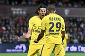 September 8th 2017, Stade Saint-Symphorien, Metz, France; French League 1 football, Metz versus Paris St Germain;  KYLIAN MBAPPE (psg) celebrates his first goal for PSG with EDINSON CAVANI (psg) in the 59th minute