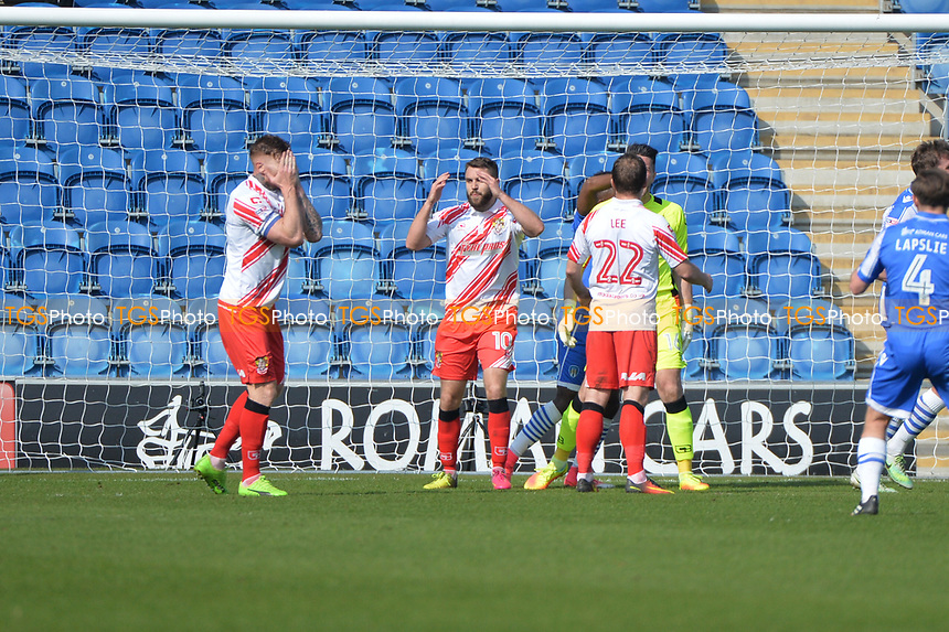 mistake causes the third goal during Colchester United vs Stevenage, Sky Bet EFL League 2 Football at the Weston Homes Community Stadium on 8th April 2017