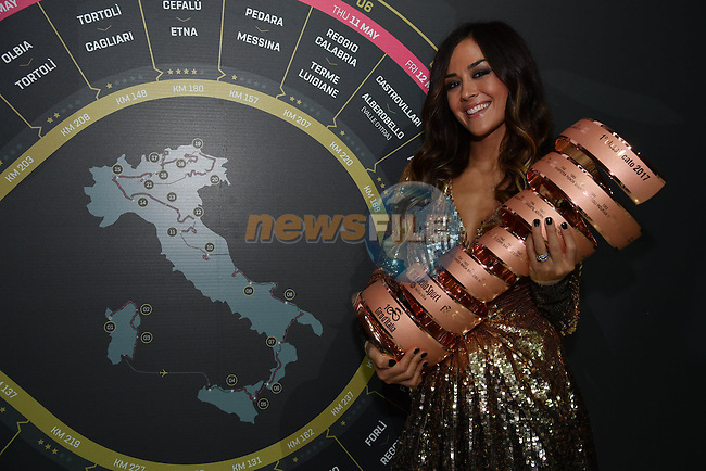 Giorgia Palmas holds the trophy at the 100th edition Giro d`Italia 2017 route presentation held at the Ice Palace in Milan, 25th October 2016.<br /> Picture: ANSA/Luca Zennaro | Newsfile<br /> <br /> <br /> All photos usage must carry mandatory copyright credit (&copy; Newsfile | ANSA/Luca Zennaro)