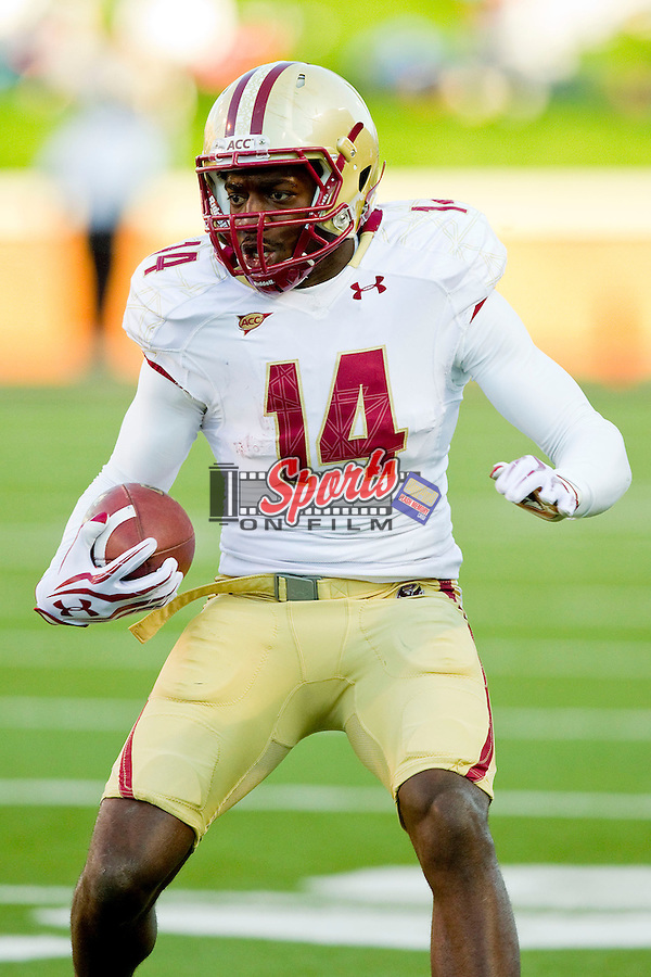 Johnathan Coleman (14) of the Boston College Eagles during first half action against the Wake Forest Demon Deacons at BB&T Field on November 3, 2012 in Winston-Salem, North Carolina.  The Demon Deacons defeated the Eagles 28-14.  (Brian Westerholt/Sports On Film)
