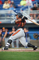 Aberdeen Ironbirds first baseman Ronarsy Ledesma (12) at bat during a game against the Batavia Muckdogs on July 16, 2016 at Dwyer Stadium in Batavia, New York.  Aberdeen defeated Batavia 9-0. (Mike Janes/Four Seam Images)