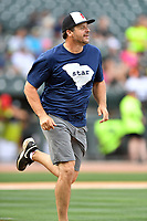 First baseman Ryan Klesko runs to first during a game against the soldiers from Fort Jackson as part of the All Star Game festivities at Spirit Communications Park on June 19, 2017 in Columbia, South Carolina. The soldiers from Fort Jackson defeated the Celebrities 1-0. (Tony Farlow/Four Seam Images)