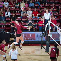 STANFORD, CA - September 9, 2018: Kathryn Plummer at Maples Pavilion. The Stanford Cardinal defeated #1 ranked Minnesota 3-1 in the Big Ten / PAC-12 Challenge.